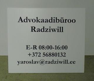 Plastikust uksesilt - Advokaadibüroo Radziwill